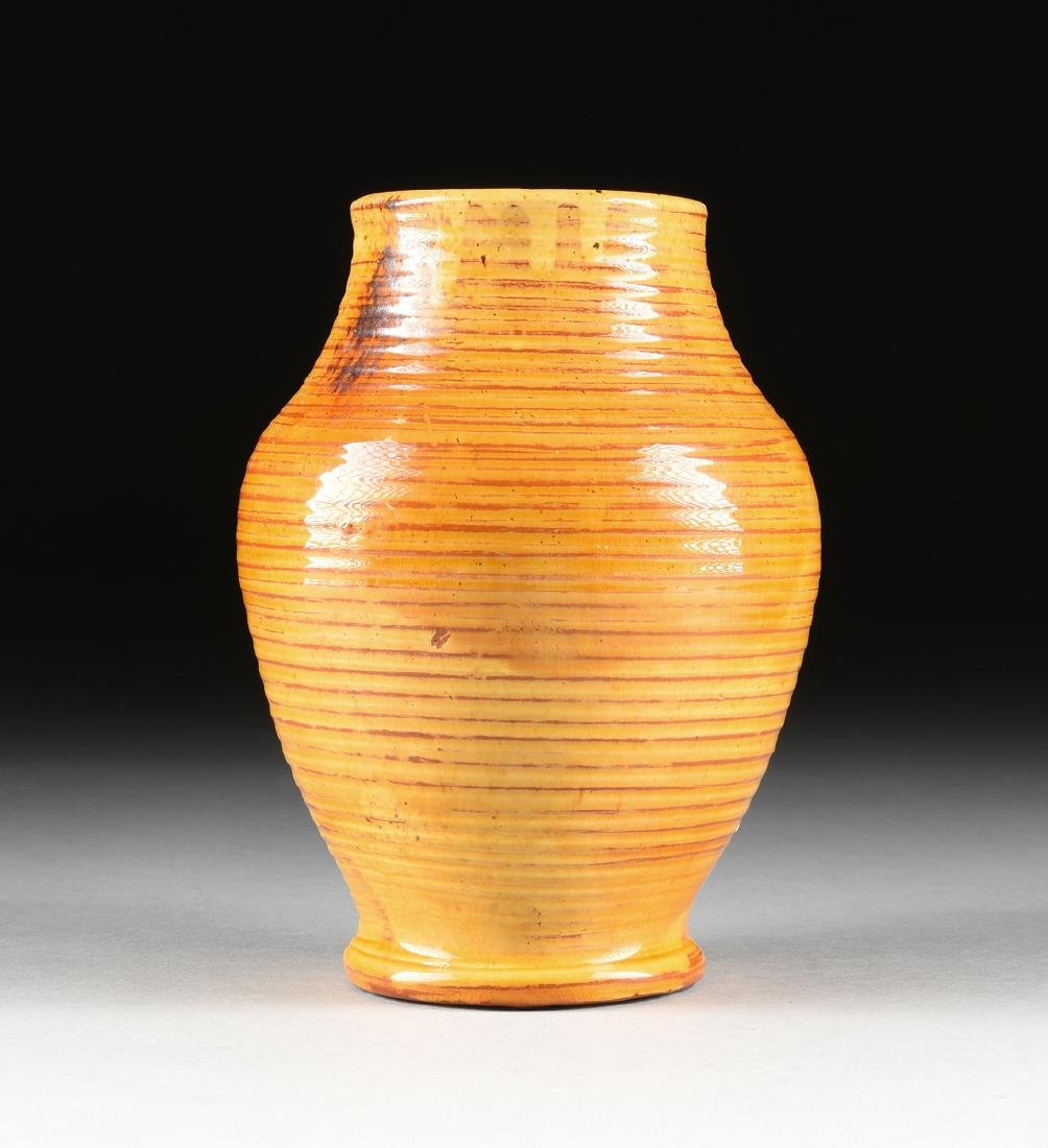 A DANISH HAND THROWN GLAZED EARTHENWARE VASE, DATED - 2