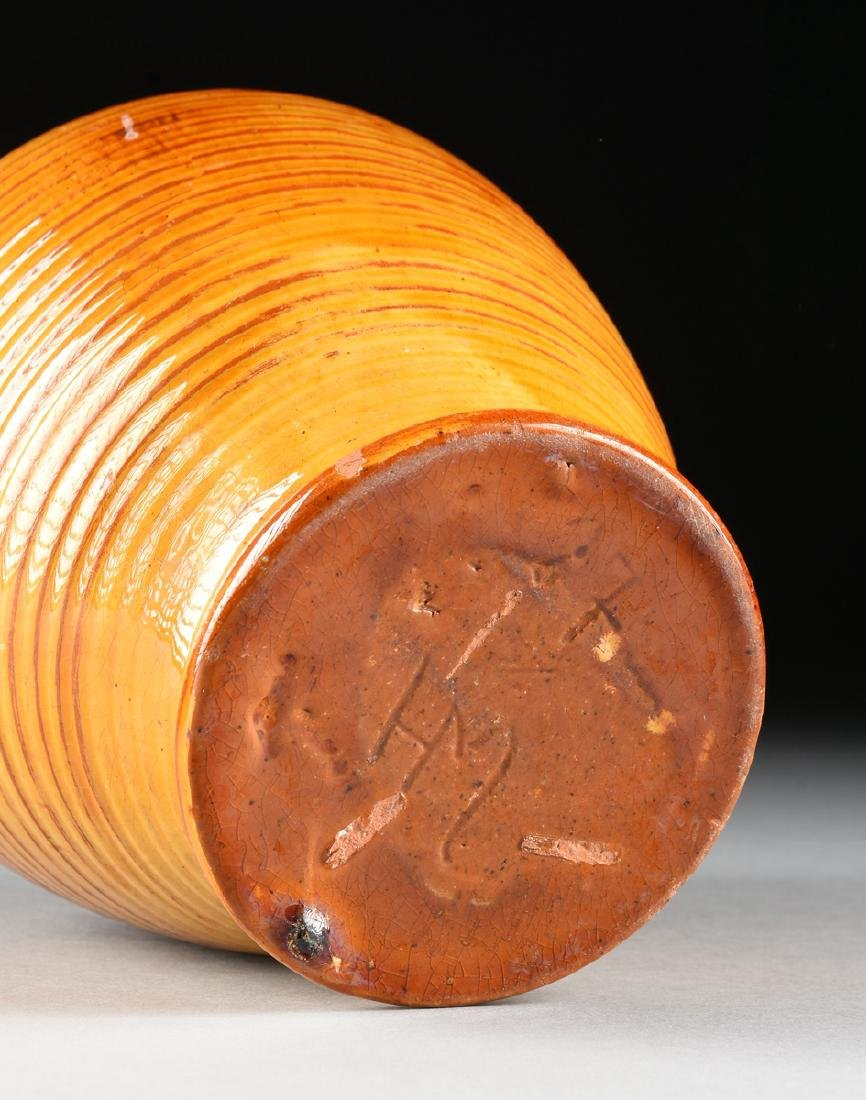 A DANISH HAND THROWN GLAZED EARTHENWARE VASE, DATED - 5