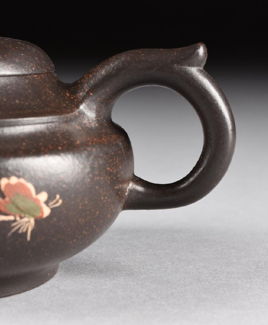 A CHINESE RED STONEWARE TEAPOT, YIXING PROVENCE, - 4