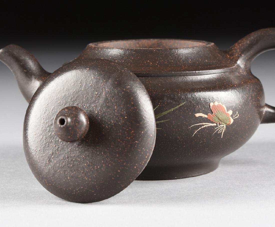 A CHINESE RED STONEWARE TEAPOT, YIXING PROVENCE, - 5