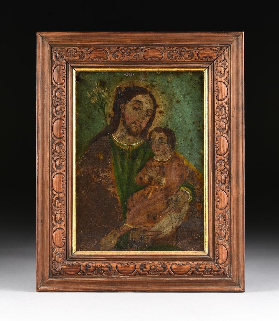 "A MEXICAN RETABLO, ""Joseph and the Christ Child,"" LATE - 2"