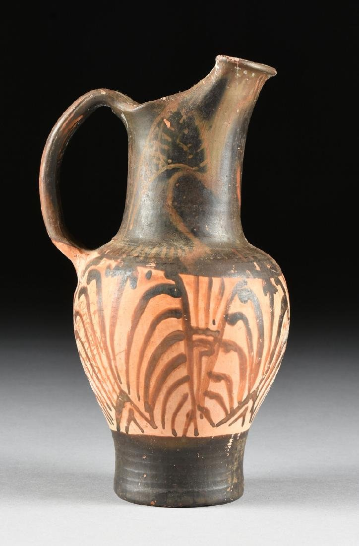 A PAIR OF ETRUSCAN STYLE BLACK FIGURE TREFOIL OINOCHOES - 3