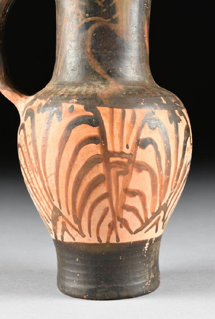A PAIR OF ETRUSCAN STYLE BLACK FIGURE TREFOIL OINOCHOES - 6