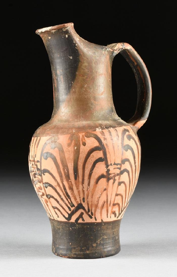 A PAIR OF ETRUSCAN STYLE BLACK FIGURE TREFOIL OINOCHOES - 8