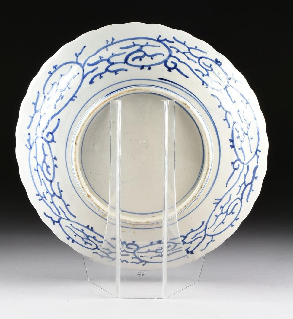 A LARGE CHINESE BLUE AND WHITE PLATE, - 6