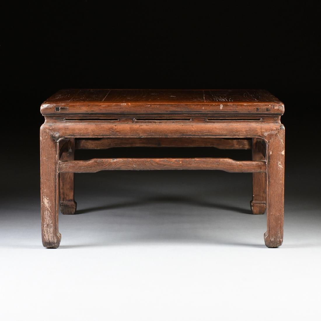 A CHINESE CARVED ELM LOW TABLE, 20TH CENTURY, - 2