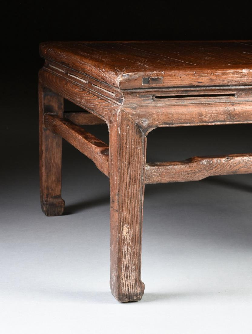 A CHINESE CARVED ELM LOW TABLE, 20TH CENTURY, - 4