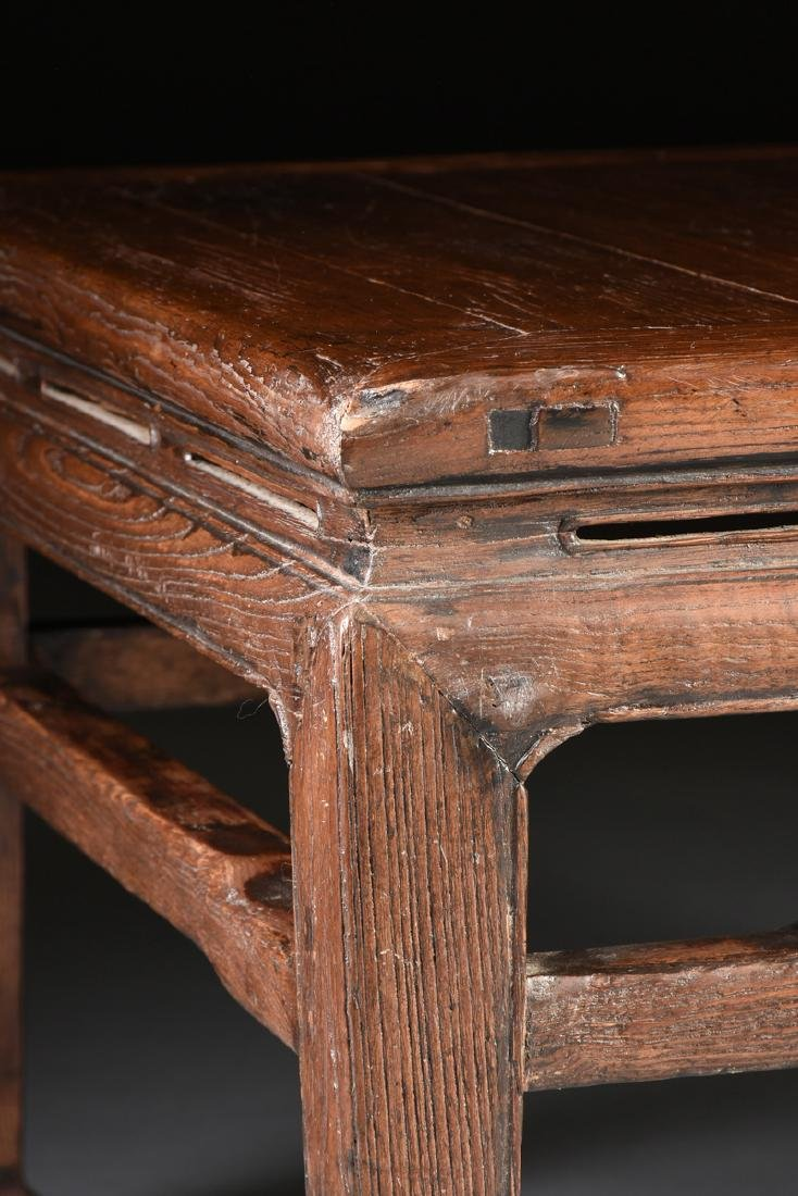 A CHINESE CARVED ELM LOW TABLE, 20TH CENTURY, - 5