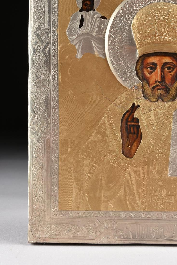 A RUSSIAN SILVERED COPPER AND BRASS OKLAD OVER OIL ON - 3