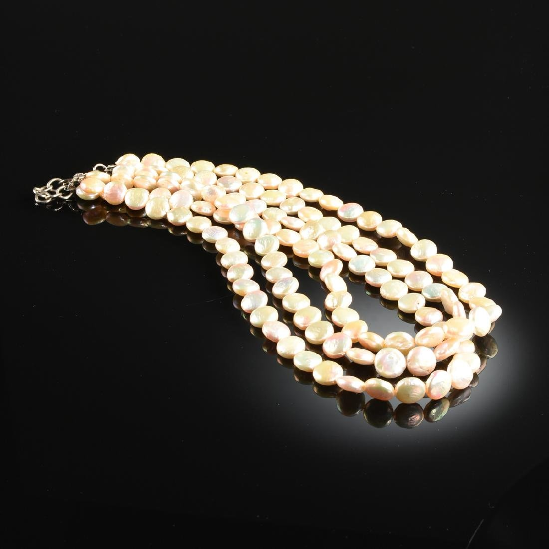 A PEARL LADY'S NECKLACE AND EARRINGS, - 4