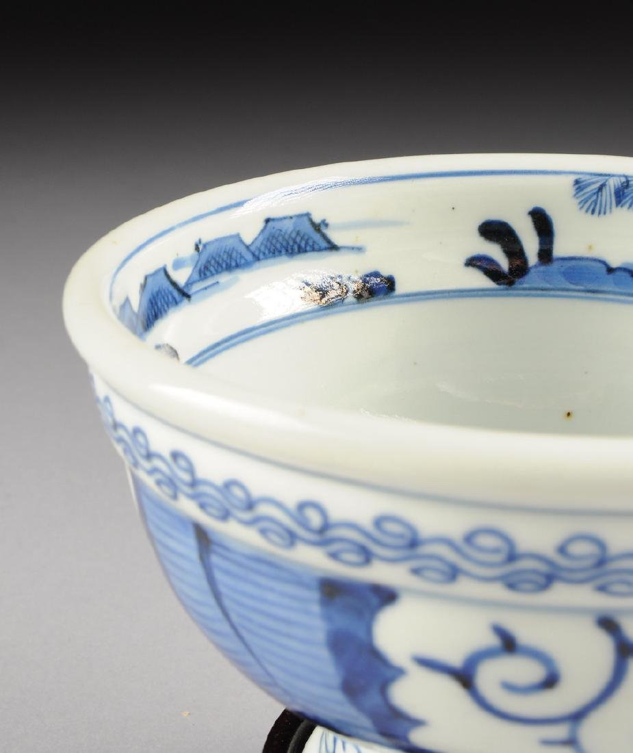 A CHINESE BLUE AND WHITE PORCELAIN FOOTED BOWL, - 3