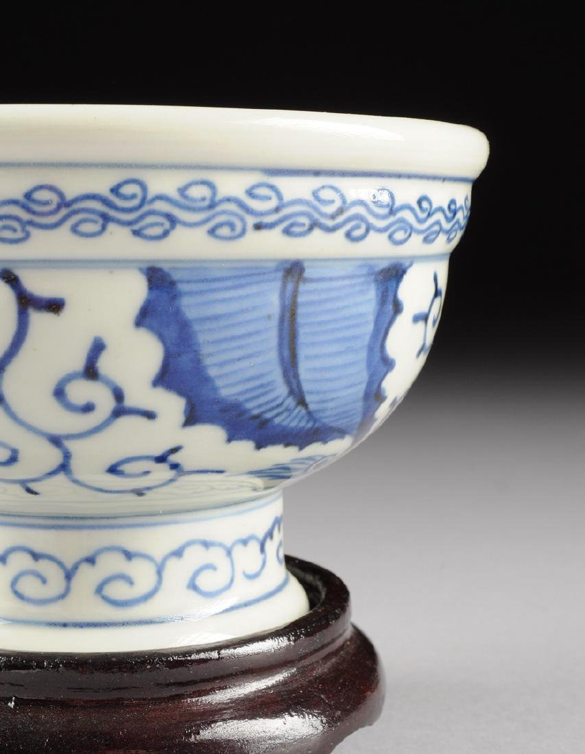 A CHINESE BLUE AND WHITE PORCELAIN FOOTED BOWL, - 5