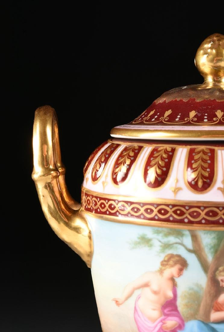 A ROYAL VIENNA STYLE PORCELAIN COVERED VASE ON STAND, - 2