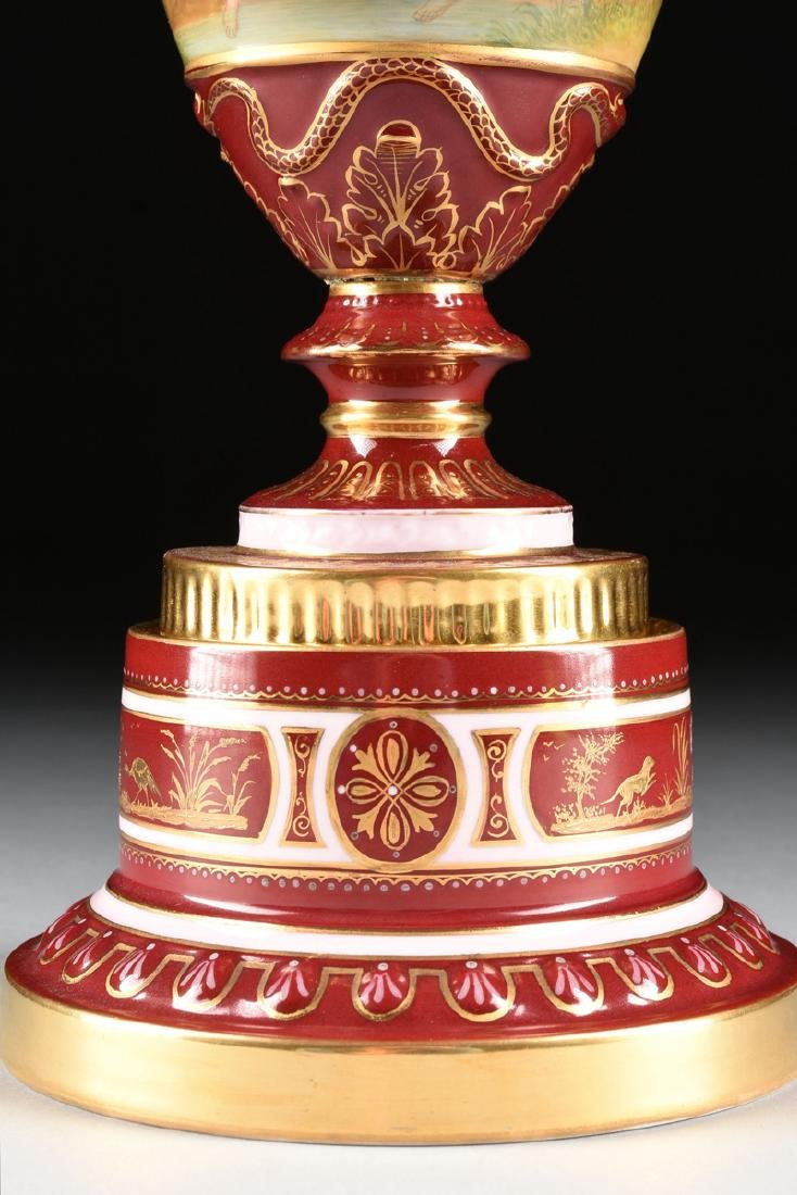 A ROYAL VIENNA STYLE PORCELAIN COVERED VASE ON STAND, - 5