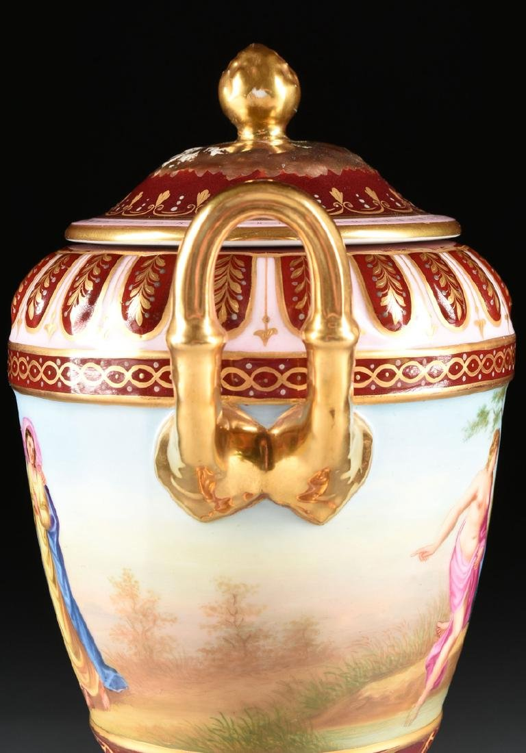 A ROYAL VIENNA STYLE PORCELAIN COVERED VASE ON STAND, - 7