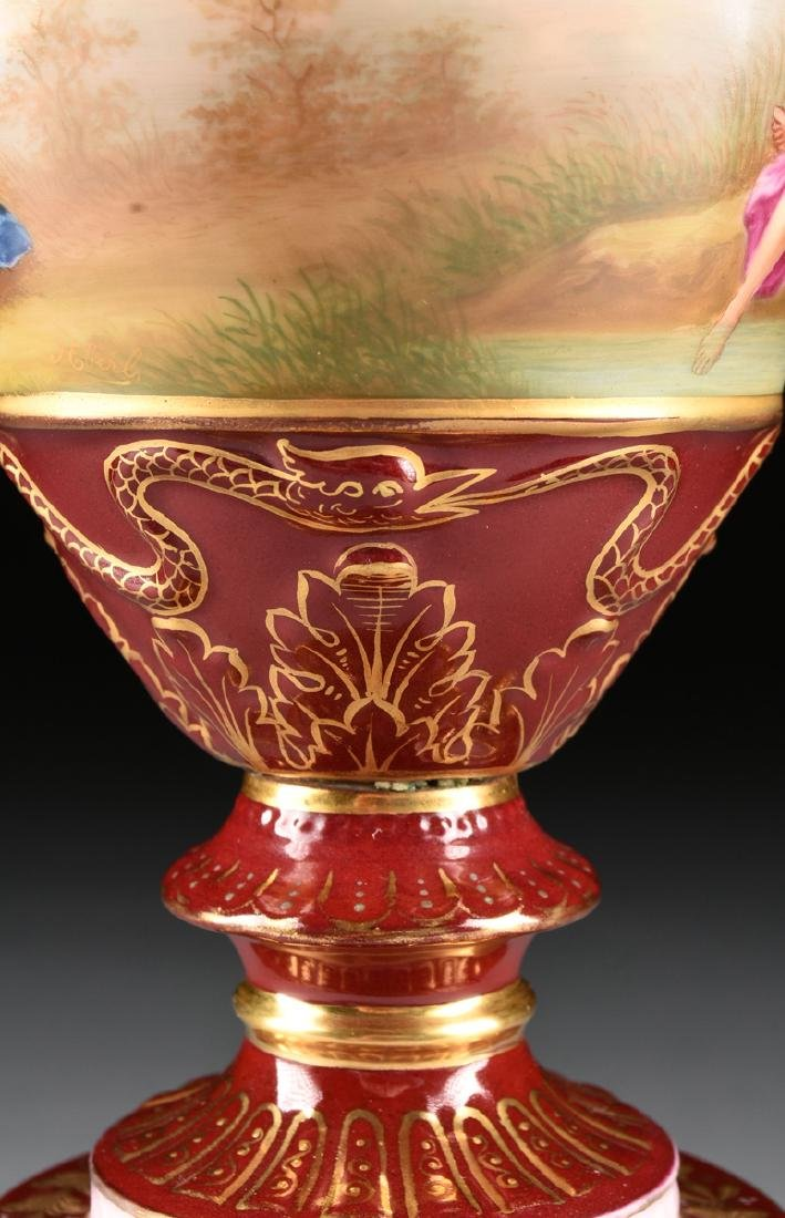 A ROYAL VIENNA STYLE PORCELAIN COVERED VASE ON STAND, - 8