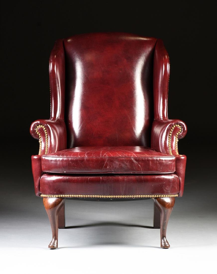 A HANCOCK & MOORE LEATHER UPHOLSTERED MAHOGANY WING - 2