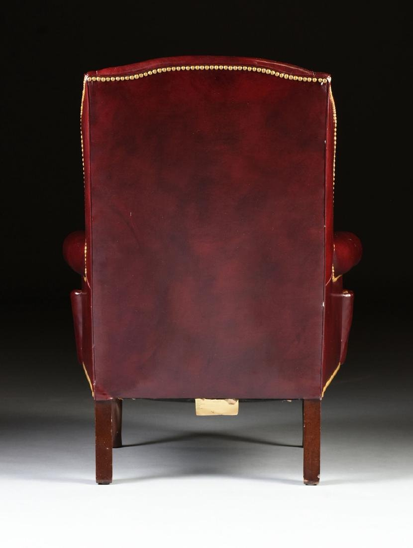 A HANCOCK & MOORE LEATHER UPHOLSTERED MAHOGANY WING - 5