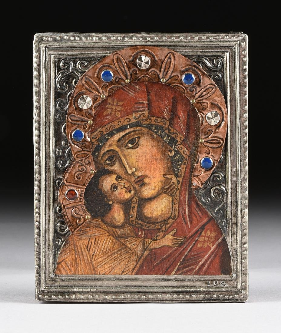 A RUSSIAN STYLE OIL ON BOARD ICON WITH COPPER AND