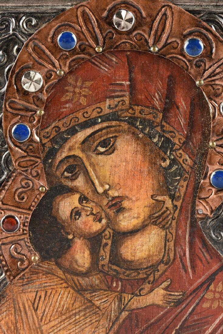 A RUSSIAN STYLE OIL ON BOARD ICON WITH COPPER AND - 6