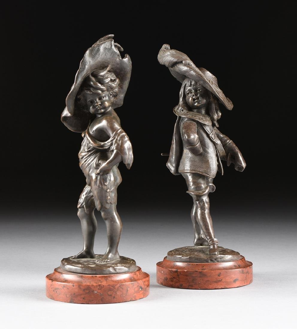 A PAIR OF LOUIS KLEY (French 1833-1911) PATINATED
