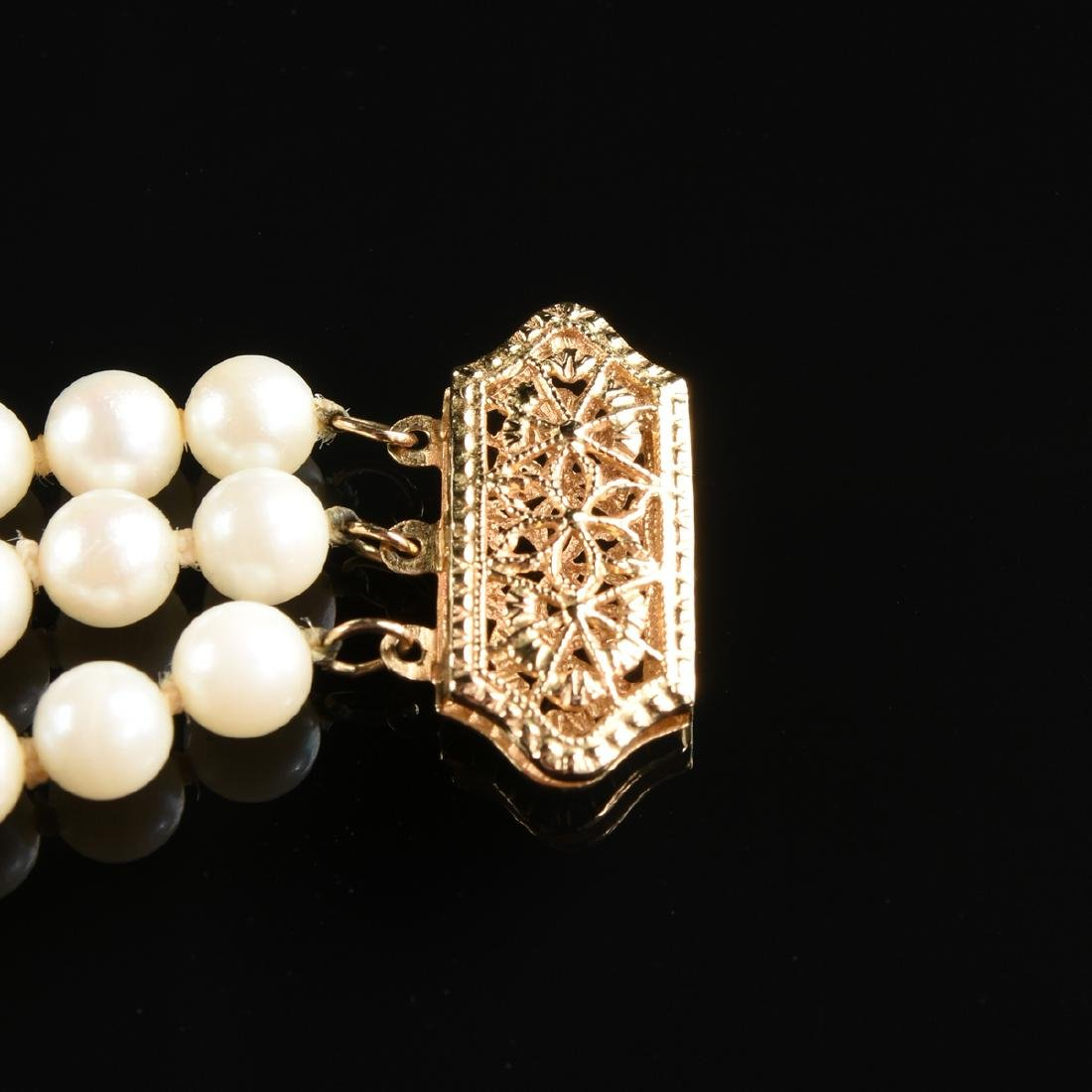 A 14K YELLOW GOLD AND PEARL LADY'S BRACELET, - 3