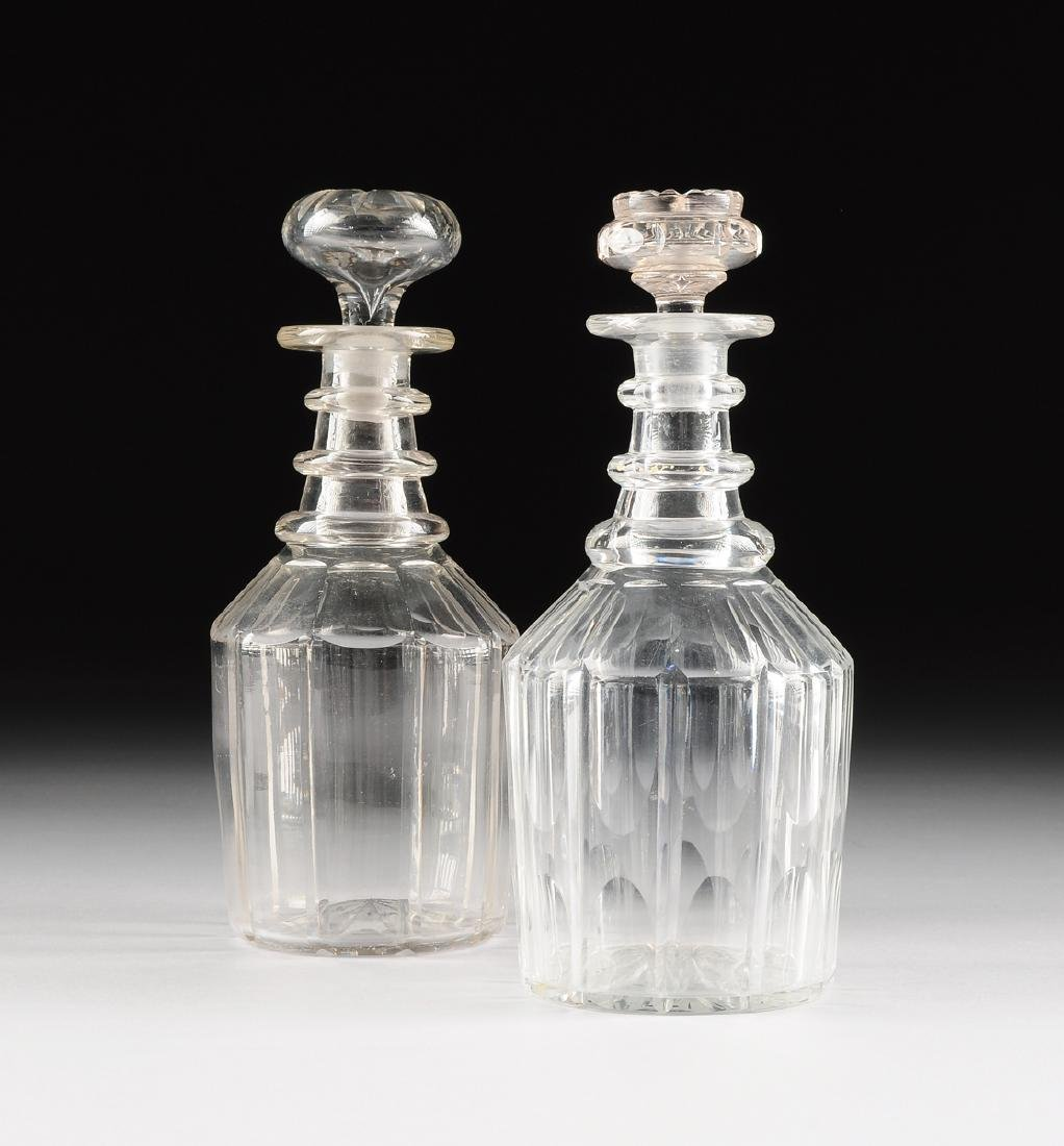 "A NEAR PAIR OF WILLIAM IV CUT GLASS MAGNUM ""ROYAL"""