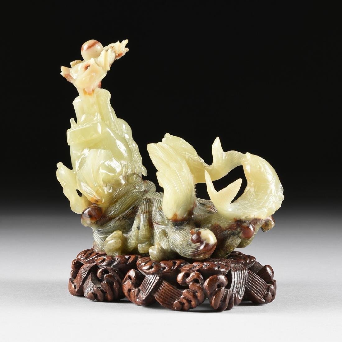 A CHINESE CELADON JADE SEA DRAGON AND FISH GROUP, - 2