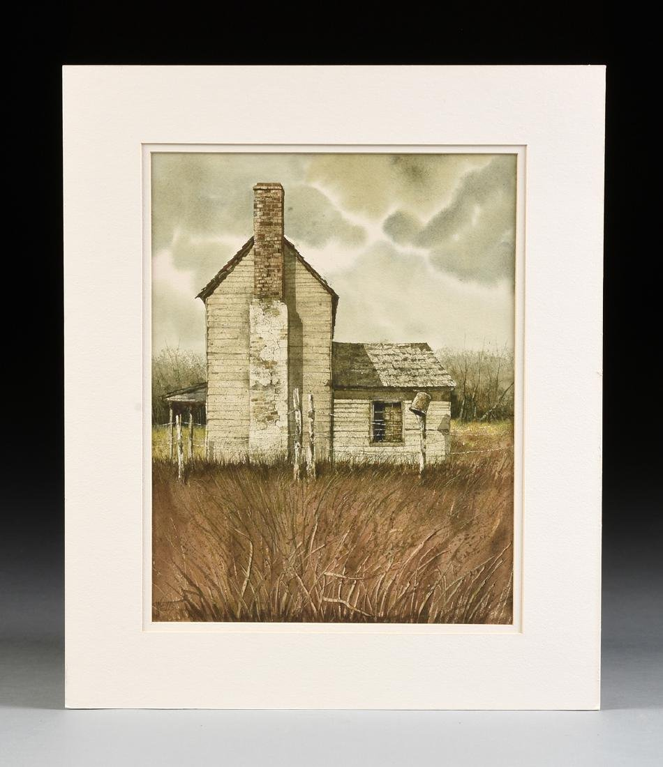 "WELLS (American 20th Century) A PAINTING, ""Farm House,"" - 2"