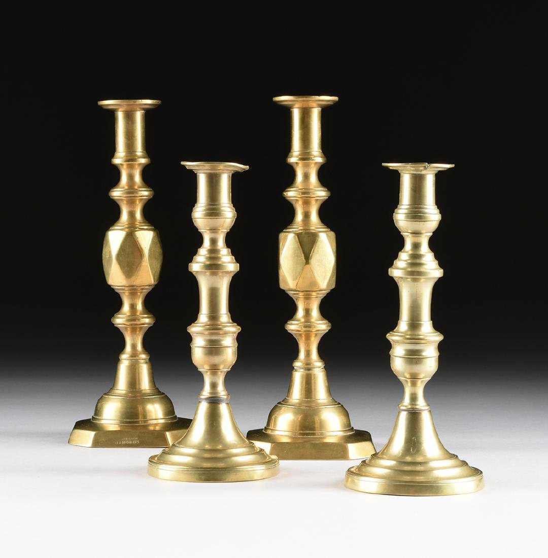TWO PAIRS OF ENGLISH BRASS CANDLESTICKS, ONE PAIR