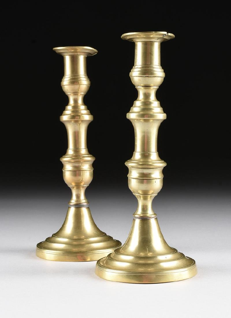 TWO PAIRS OF ENGLISH BRASS CANDLESTICKS, ONE PAIR - 9