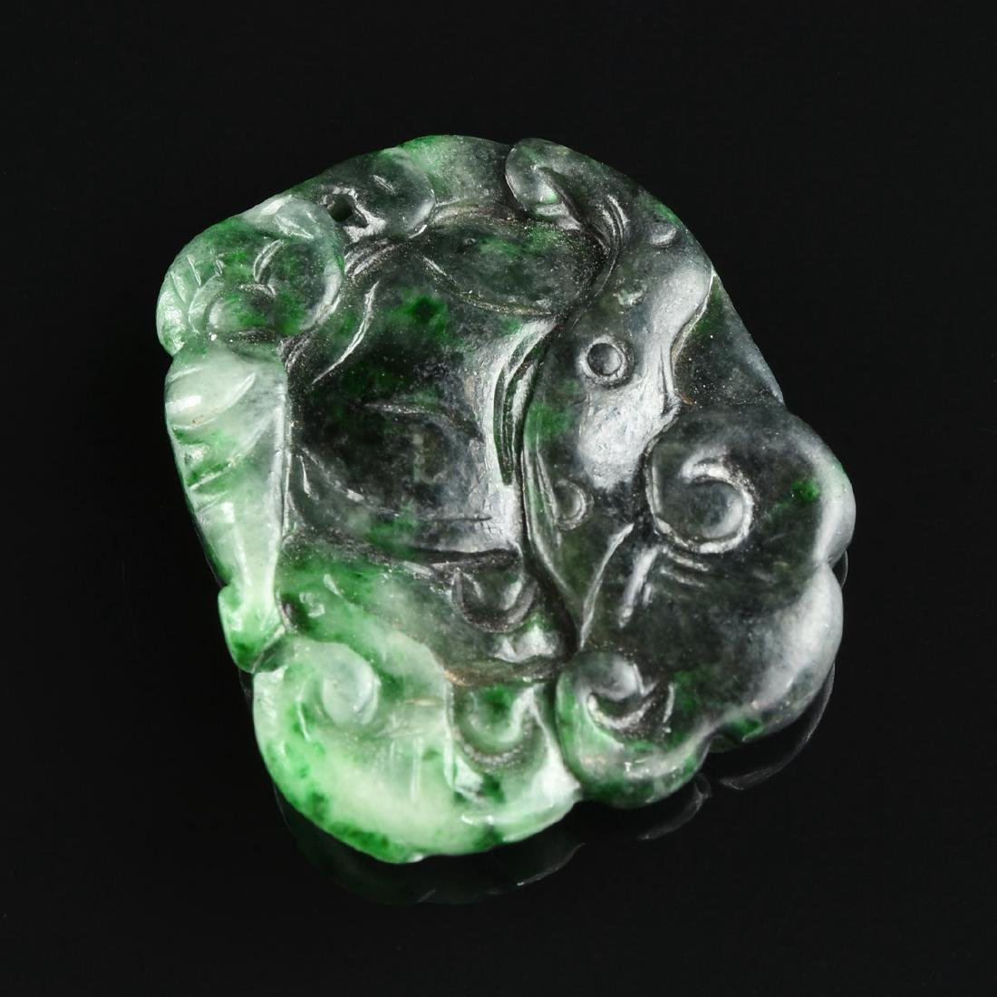 TWO CHINESE SPINACH GREEN JADE PENDANTS, MODERN, - 3