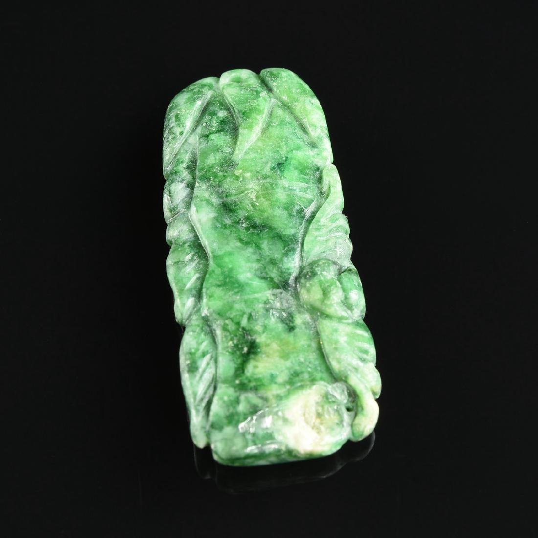 TWO CHINESE SPINACH GREEN JADE PENDANTS, MODERN, - 5