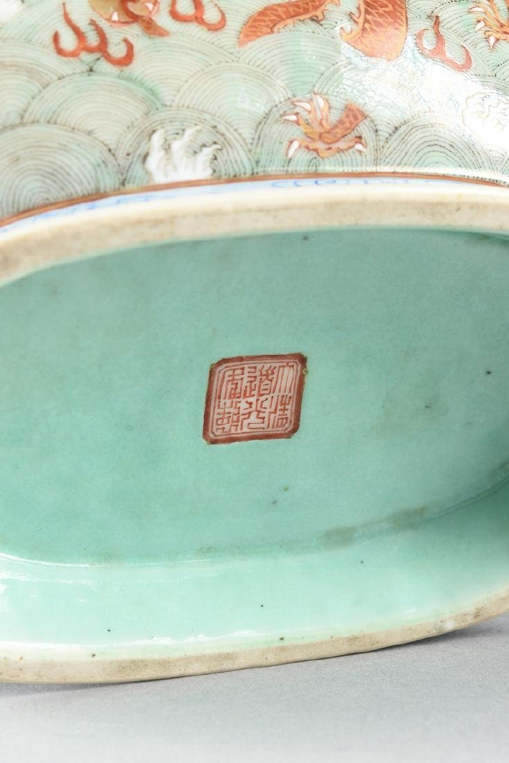 A CHINESE EXPORT PORCELAIN OVAL FOOTED BOWL, REPUBLIC - 10
