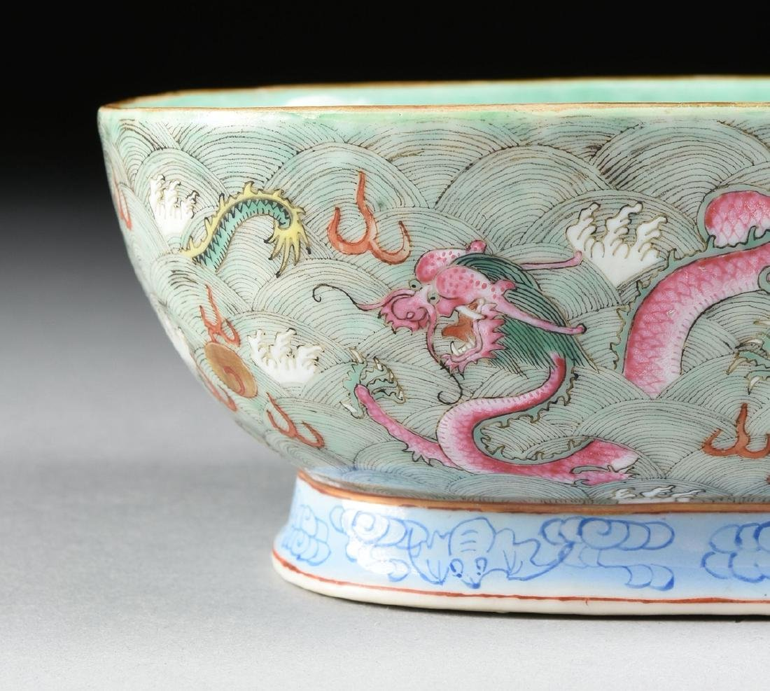 A CHINESE EXPORT PORCELAIN OVAL FOOTED BOWL, REPUBLIC - 2