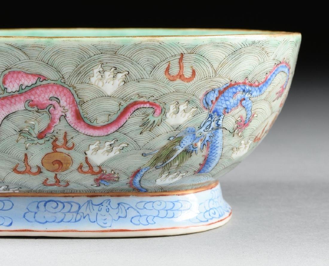 A CHINESE EXPORT PORCELAIN OVAL FOOTED BOWL, REPUBLIC - 3
