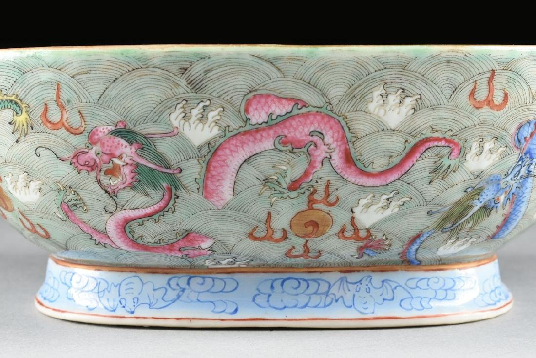A CHINESE EXPORT PORCELAIN OVAL FOOTED BOWL, REPUBLIC - 4