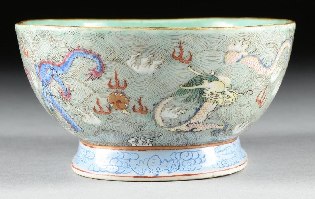 A CHINESE EXPORT PORCELAIN OVAL FOOTED BOWL, REPUBLIC - 5