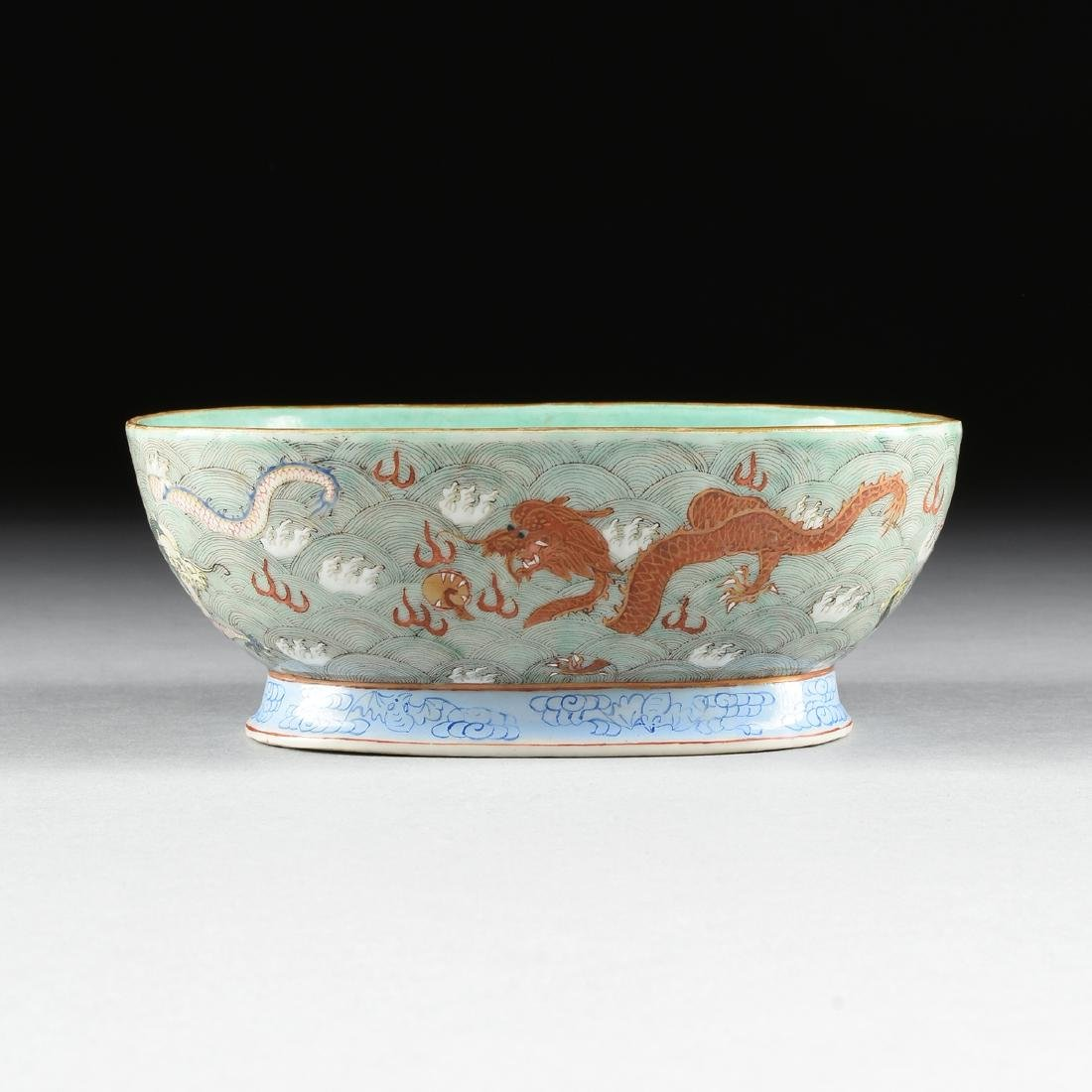 A CHINESE EXPORT PORCELAIN OVAL FOOTED BOWL, REPUBLIC - 6