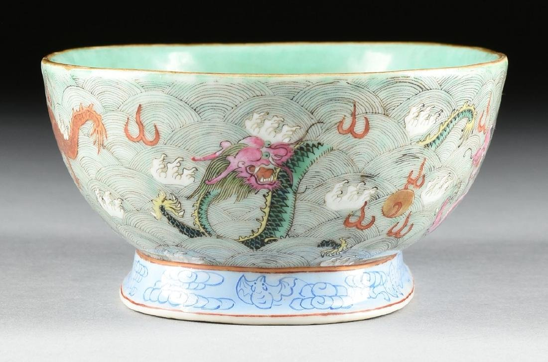 A CHINESE EXPORT PORCELAIN OVAL FOOTED BOWL, REPUBLIC - 7