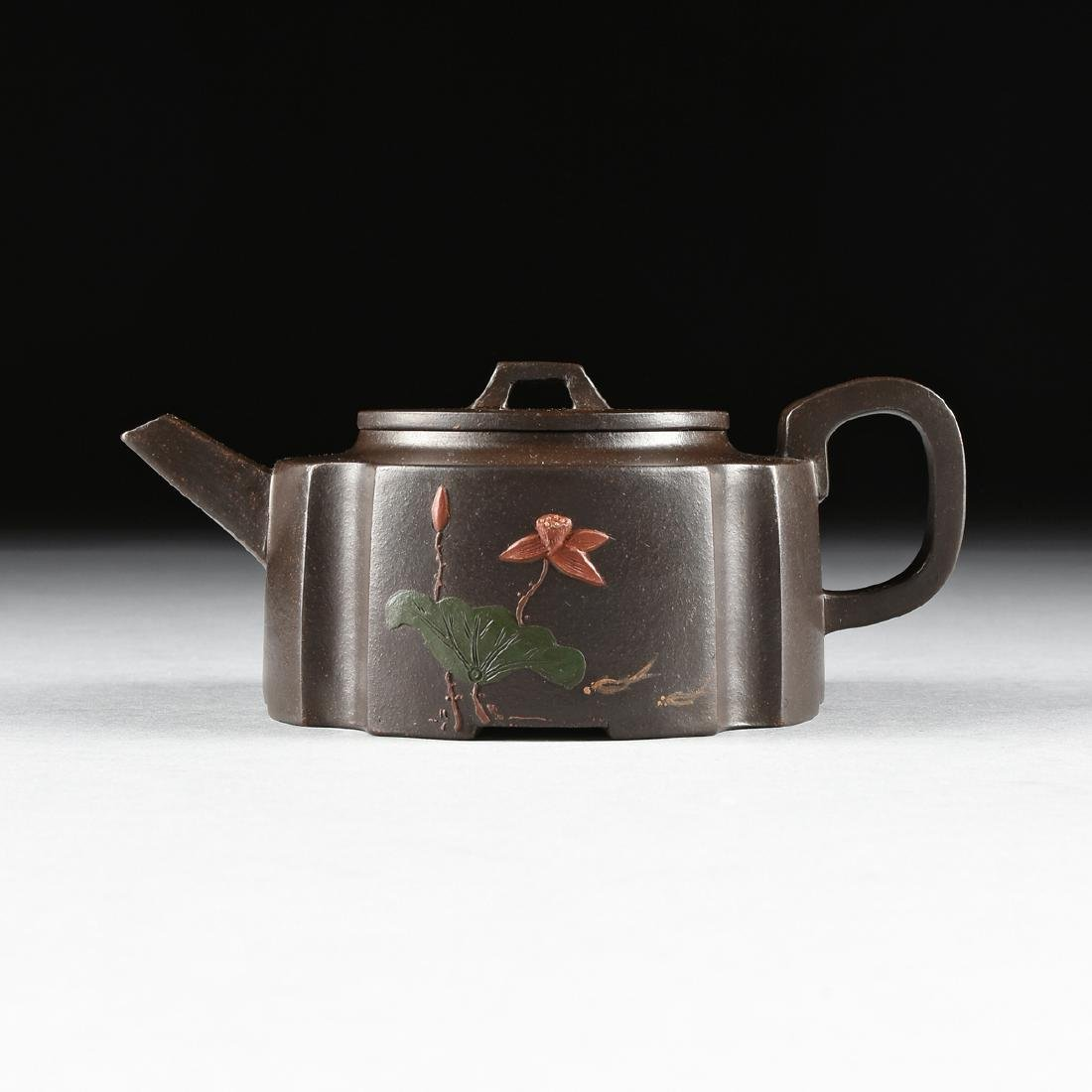 A CHINESE RED STONEWARE TEAPOT, YIXING PROVINCE,