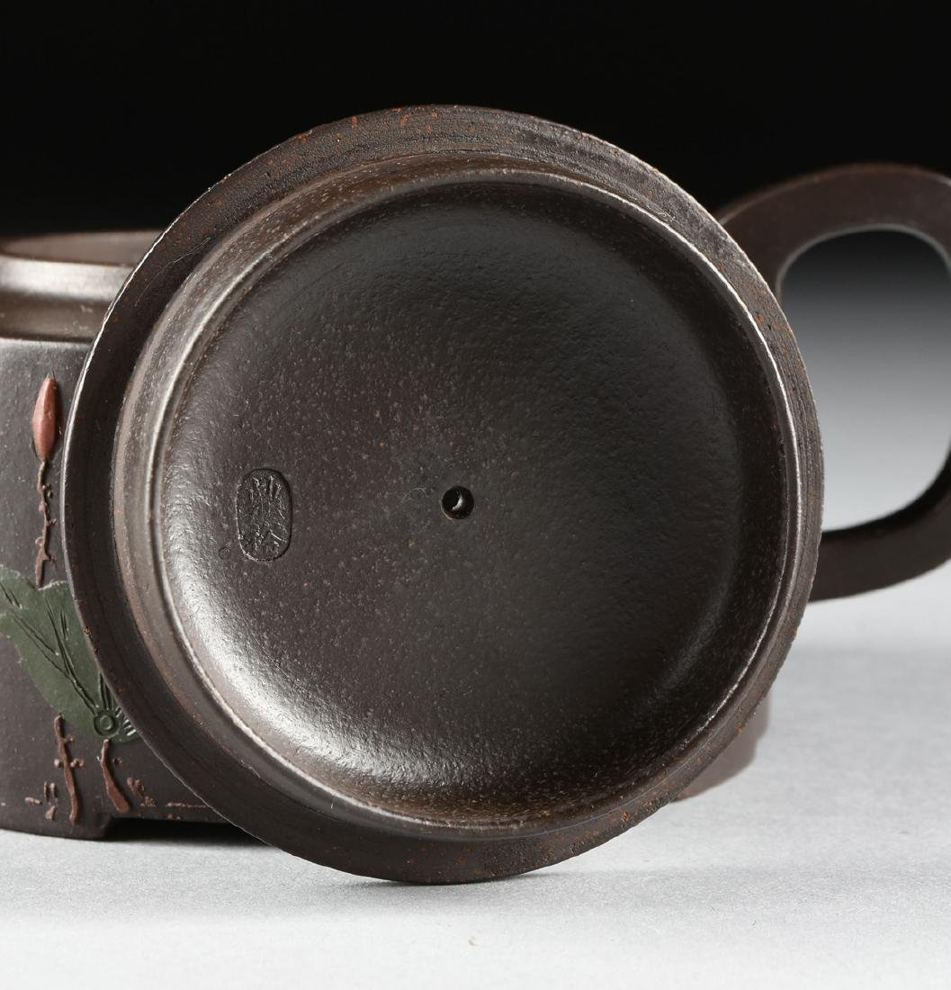A CHINESE RED STONEWARE TEAPOT, YIXING PROVINCE, - 5