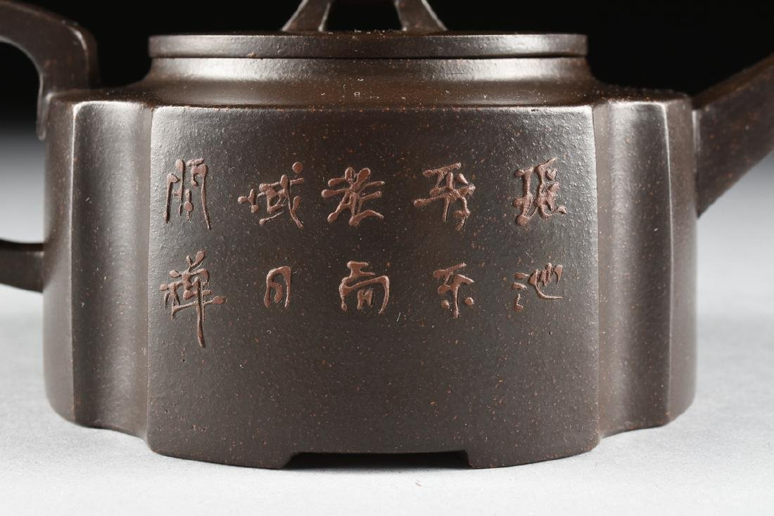 A CHINESE RED STONEWARE TEAPOT, YIXING PROVINCE, - 8