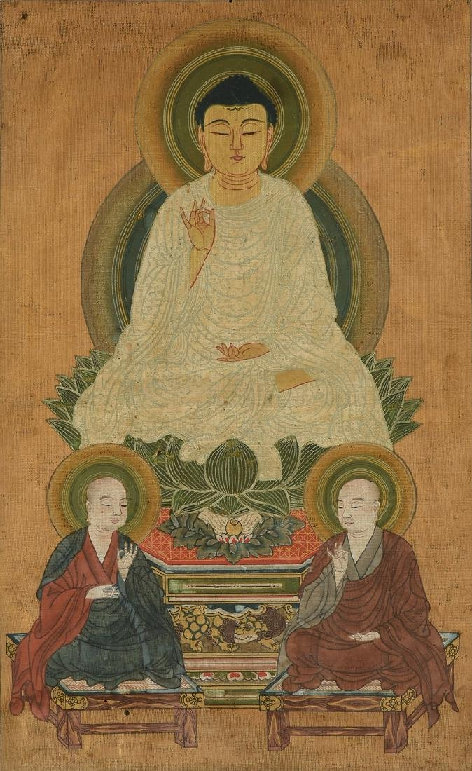 AN ANTIQUE POLYCHROME PAINTED AND FRAMED THANGKA,
