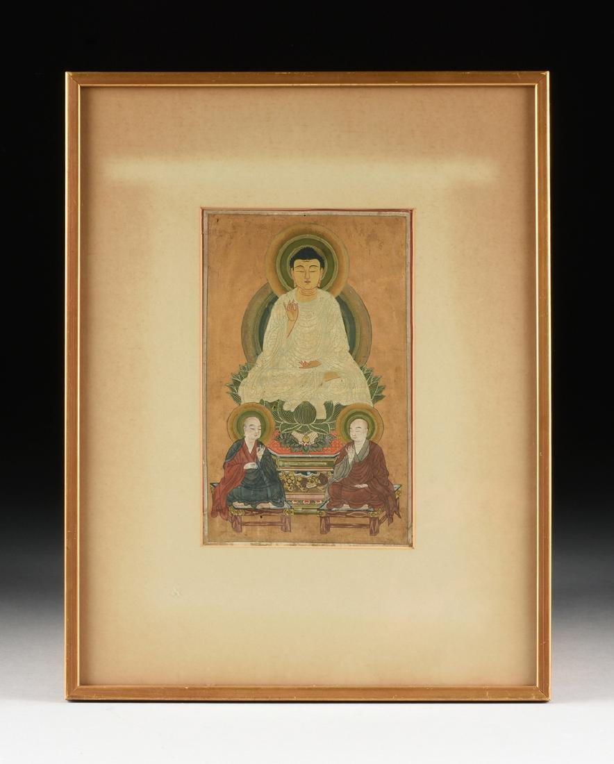 AN ANTIQUE POLYCHROME PAINTED AND FRAMED THANGKA, - 2