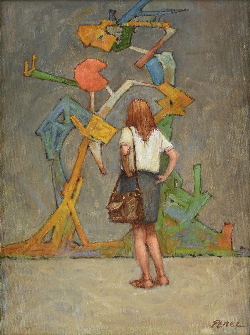 "JOSE PEREZ (American b. 1929) A PAINTING, ""Viewing the"
