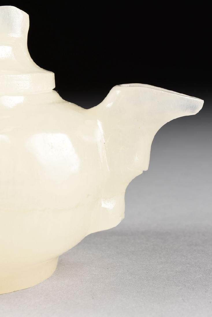A CHINESE CARVED WHITE MUTTON FAT JADE TEAPOT WITH - 5