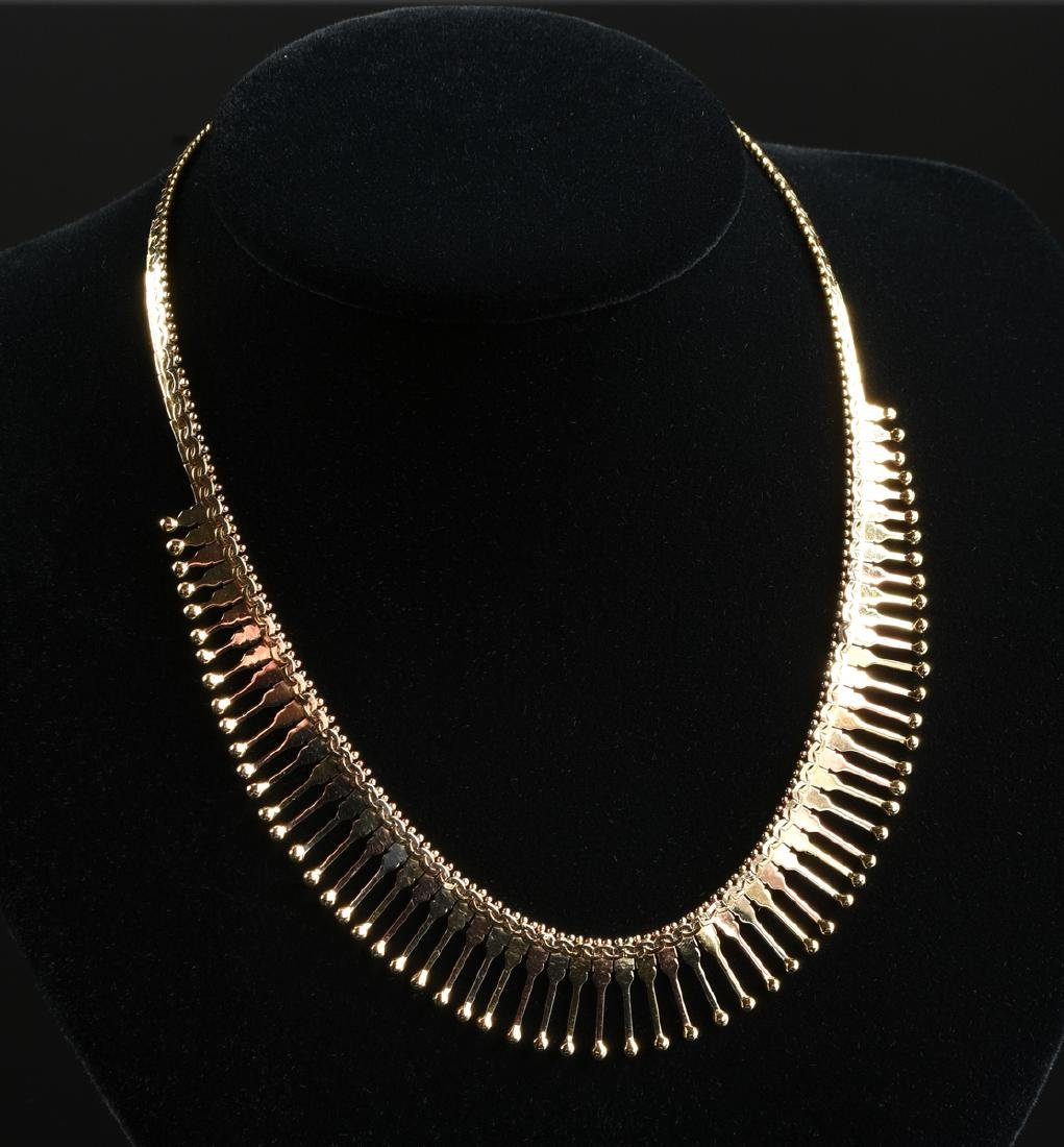 A 14K YELLOW GOLD CLEOPATRA LADY'S NECKLACE,