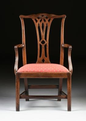 A COLONIAL MAHOGANY CHIPPENDALE ARM CHAIR, PROBABLY