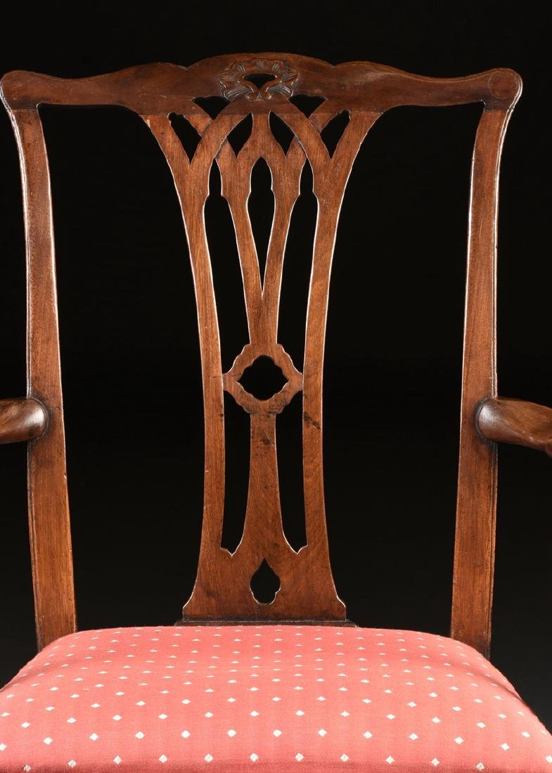 A COLONIAL MAHOGANY CHIPPENDALE ARM CHAIR, PROBABLY - 4